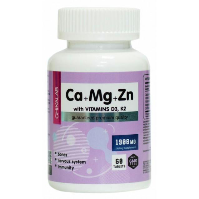 Chikalab Ca Mg Zn with vitamins D3 K2 60 таблеток