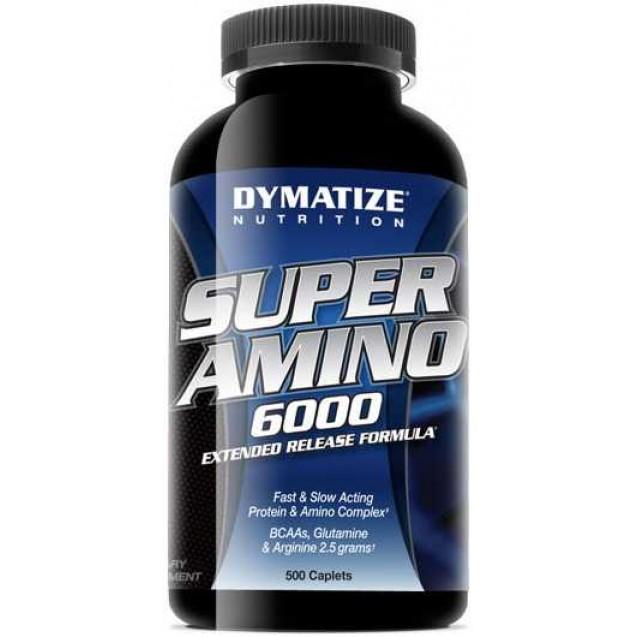 Super Amino 6000 аминокислоты, супер амино 6000, спортивное питание, производитель Dymatize, упаковка банка 500 таблеток