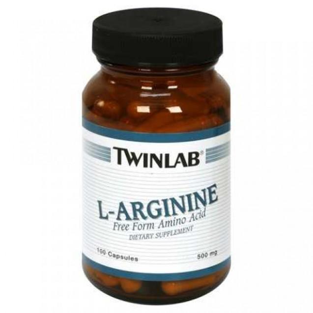 L-Arginine 500 mg, аминокислоты, производитель Twinlab, упаковка банка 100 капсул