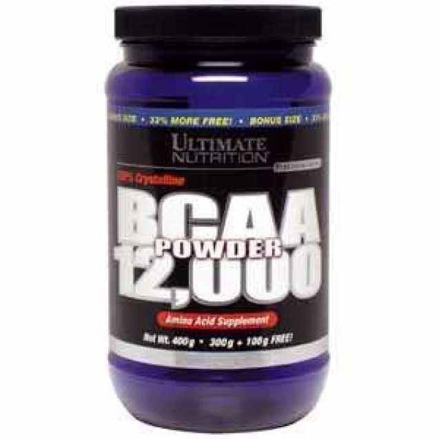 BCAA 12000 Powder, бсаа, аминокислоты, производитель Ultimate Nutrition, упаковка банка 400 гр.