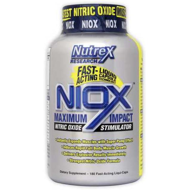 NioX нитробустер NO, производитель Nutrex, упаковка банка 180 капсул