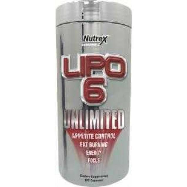 Lipo-6 Unlimited, жиросжигатель, производитель Nutrex, упаковка банка 120 капс.