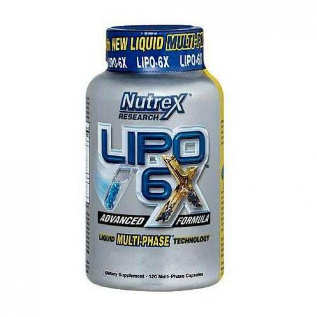 Lipo-6x, жиросжигатель, производитель Nutrex, упаковка банка 120 капсул